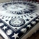 Sun and moon tapestry: tumblr, black and white