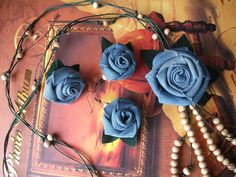Items similar to Flower from tissue. on Etsy Denim Flowers, Floral Denim, Fabric Flowers, Textile Jewelry, Crochet Necklace, Textiles, Trending Outfits, Rose, Unique Jewelry