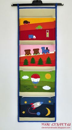 Мои секреты: кармашки в садик Porte Magazine Mural, Toy Storage, Hanging Storage, Felt Crafts, Diy And Crafts, Pink Chalk, Baby Memories, Creative Skills, Wall Pockets