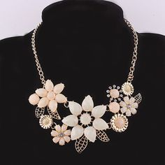 Beora Gold Plated Fashion Crystal Flowers Necklace by Trendymela.com