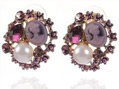 Buy Zephyrr Fashion Pierced Stud Earrings Handmade Purple Stones Faux Pearls Online at Low Prices in India   Amazon Jewellery Store - Amazon.in