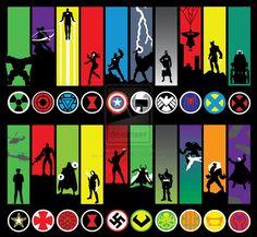Marvel heroes and villains minimalistic