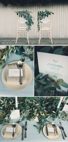 A Coastal Wedding Decor Inspiration Shoot From Rock My Wedding Featuring A Rustic Olive Leaf Table Centrepiece And A Luxury Sequinned Wedding Tablescape. | Rock My Wedding