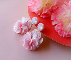 Light Pastel Princess Pink Circle Beaded Floral Rhinestone Earrings - Lux Store DR