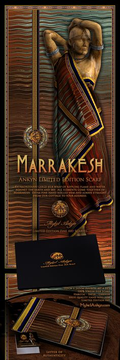 Mykel Ankyn Limited Edition Fine Art Designer Silk Scarves - Marrakesh - Extraordinary large silk wrap of rippling flame and water against the earth and sky. All elements come together in Marrakesh. Extra fine hand rolled hem and always straight from our cottage to your address.