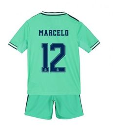 Real Madrid Marcelo #12 Tercera Equipación Niños 2019/20 Manga Corta (+ Pantalones cortos) Equipacion Real Madrid, Real Madrid Shirt, Real Madrid Football, James Rodriguez, Zinedine Zidane, Football Socks, Football Shirts, College Football, Isco