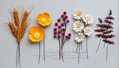 Flowers in My Heart III - Quilled Wheat, Poppies, Berries and Daisies