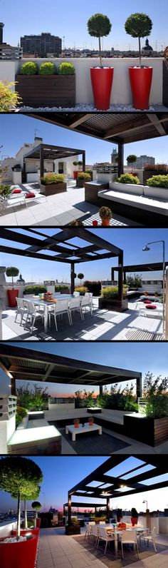 roof top terrace with colourful planters | adamchristopherdesign.co.uk