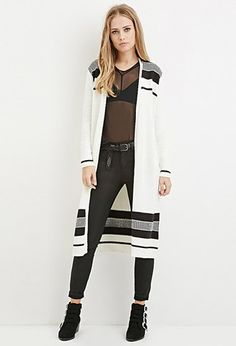 Triangle-Patterned Longline Cardigan | Forever 21 - 2000163457 ...
