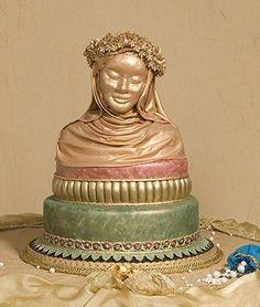 Golden Wedding Cake Design by Glenda Galvez - displayed at the Oklahoma State Sugar Art Show. by francesca-caas