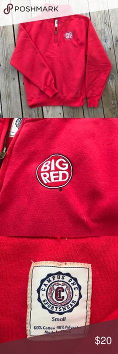Big Red Half-Zip Hoodie Sweatshirt -- Size Small Big Red half-zip hoodie sweatshirt. Size small, 60% cotton and 40% polyester. Campus One Sportswear Tops Sweatshirts & Hoodies