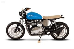 "Racing Cafè: Triumph Thruxton ""Mighty Blue"" by Maria Motorcycles"