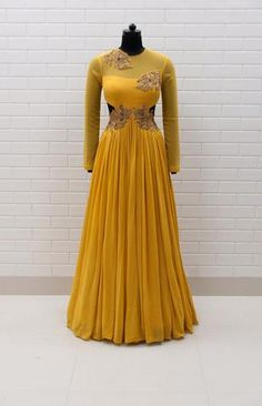 ALBA : Spicy Mustard Box collar Shoulder Jacket & Blouse in Floral Sequins and Beads embroidery with pleated Lehenga Indian Wedding Gowns, Indian Gowns Dresses, Indian Bridal Lehenga, Red Lehenga, Indian Outfits, Lehenga Choli, Gown Wedding, Pakistani Dresses, Designer Gowns