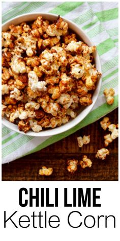 Chili Lime Kettle Corn - the perfect sweet salty and just barely spicy snack! Healthy Snacks For Kids, Easy Snacks, Yummy Snacks, Appetizer Recipes, Snack Recipes, Dinner Recipes, Appetizers, Dessert Recipes, Popcorn Snacks