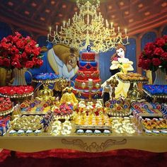 MESA DECORADA FESTA A BELA E A FERA...BEAUTY AND THE BEAST BIRTHDAY PARTY IDEAS