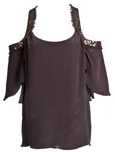 Destiny Top- Brown sheer knit tank with twisted strap.