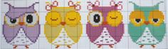 Owls perler bead pattern Cross Stitch Owl, Cross Stitch Kitchen, Cross Stitch Bookmarks, Cross Stitch Borders, Cross Stitch Animals, Cross Stitch Charts, Cross Stitch Designs, Cross Stitching, Cross Stitch Embroidery