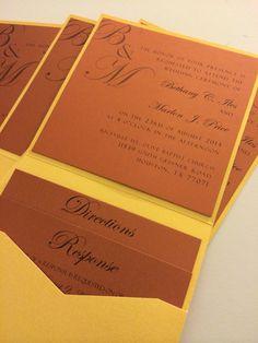 Wedding invitation pocket I'm yellow gold and burnt orange!  Info@theinviteonline.com