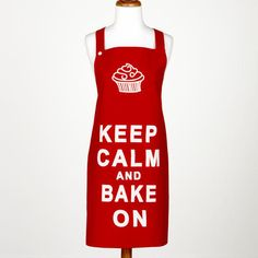 Keep Calm & Bake On Apron $19.99. Matching pot holders and a kitchen towel set are available as well.