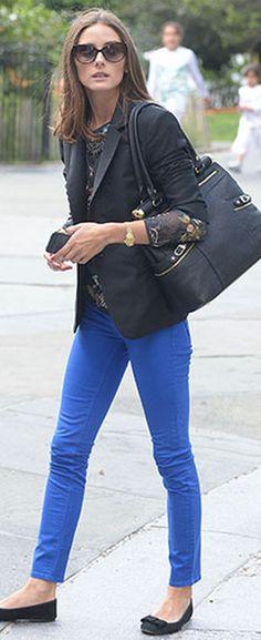 blue pants, floral top, black blazer + black flats The Look 4 Less: Celebrity Look 4 Less: Olivia Palermo outfit-recipes Cobalt Jeans, Cobalt Pants Outfit, Cobalt Blue Pants, Royal Blue Jeans, Flats Outfit, Olivia Palermo Stil, Looks Jeans, Look Fashion, Womens Fashion