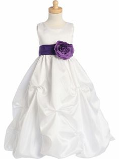 White shantung organza Flower Girl dress from www.pinkprincess.com - affordable - the sash comes in multiple colors