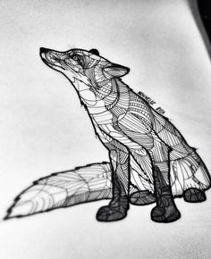 innerbohemienne: Fox sketch to tattoo ~ tattoo artist Nouvelle Rita