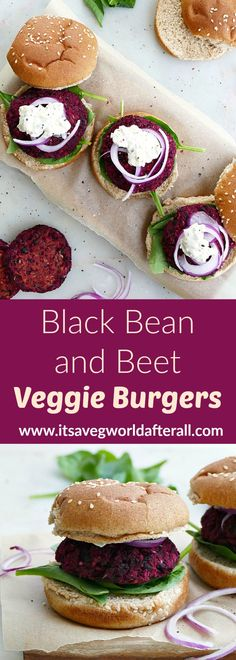 Need a new veggie burger recipe for your summer cookouts and parties? These easy black bean and beetroot burgers are delicious and filled with vegetarian protein. #beetburgers #blackbeans Beetroot Burgers, Vegetarian Burgers, Vegetarian Protein, Vegetarian Recipes, Cooking Recipes, Healthy Recipes, Healthy Food, Beetroot Recipes, Recipes