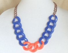 """Team Colors,Boise State Jewelry,Adjustable 22"""" Long,Statement Necklace,Chunky Royal  Blue,Orange,Light Weight Acrylic,30x32mm Links,#SJ1003N by ckdesignsforyou. Explore more products on http://ckdesignsforyou.etsy.com"""