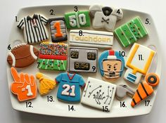 Great ideas for football themed cookies - from Sweet Sugar Belle
