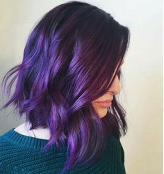 Exclusive Purple Hair Color for Medium and Shoulder Length Hair can find Purple hair and more on our website.Exclusive Purple Hair Color for Medium and . Short Purple Hair, Dark Purple Hair, Hair Color Purple, Cool Hair Color, Short Colorful Hair, Violet Hair Colors, Purple Wig, Colourful Hair, Purple Lilac
