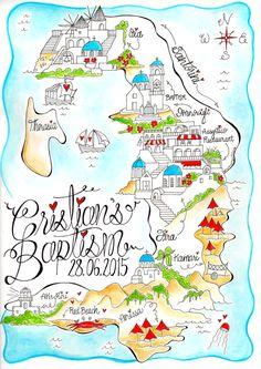 Santorini Map/ Santorini Invitation/ Baptism Invitation/ Christening Invitation