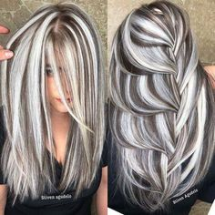 Perfect Hair Color, Hair Color And Cut, Cool Hair Color, Gray Hair Highlights, Chunky Highlights, Great Hair, Gorgeous Hair, Beautiful, Dyed Hair
