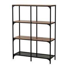 IKEA - FJÄLLBO, Estantería, , Al ser de metal y madera maciza, cada estantería es una pieza única.Un sólo módulo puede ser suficiente en un espacio limitado o la base de una gran solución si cambian tus necesidades.Las patas se pueden regular para corregir posibles desniveles en el suelo.