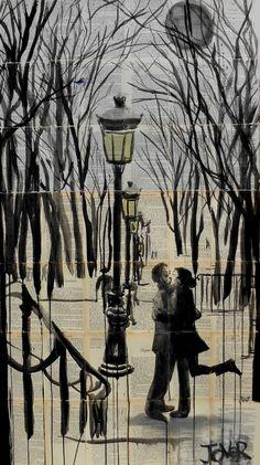 "Saatchi Art Artist: Loui Jover; Ink 2014 Drawing ""paris interlude (SOLD)"""