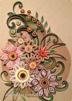 Картина панно рисунок Квиллинг Цветочный узор Бумажные полосы фото 17
