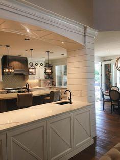 42 Stunning Farmhouse Style Cottage Kitchen Cabinets Ideas - About-Ruth Cottage Kitchen Cabinets, Cottage Kitchens, Living Room Kitchen, Home Decor Kitchen, Living Rooms, Kitchen Ideas, Kitchen Designs, Farmhouse Interior, Modern Farmhouse Kitchens