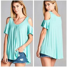 **The Haylee Top MINT Beautiful open shoulder top in Mint Material is rayon and spandex Boutique quality  ** Also available in Black and Lilac ** Sizes S M L  Price Firm unless bundled  **When purchasing please indicate Size and Color. Boutique  Tops Blouses