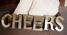 CHEERS letters glitter