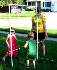 For a homemade Limbo game: 2 - length of diameter PVC pipe. 2 - pvc elbows for inch pipe 8 - T shaped pvc joints 1 - 48 inch long wooden dowel of inch diameter 1 inch long. Diy Yard Games, Diy Games, Backyard Bar, Backyard Games, Luau Birthday, 2nd Birthday Parties, Limbo Game, Pvc Joints, Halloween Ideas