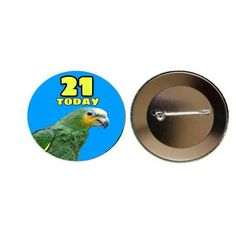 Amazon Parrot '21 Today' Blue 55mm Button Pin Badge (PG-0633)