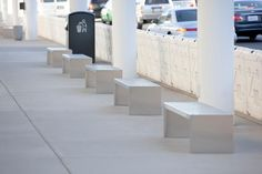 Foundation Benches with integral ends shown in Stainless Steel with Satin finish at Mineta San Jose International Airport, San Jose, California