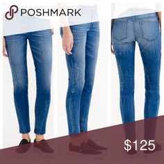 """J.Crew toothpick cone denim in Hanna wash Sits at hip. Fitted through hip and thigh, with a superskinny, ankle-length leg. Front rise: 9"""". 28"""" inseam. 10 1/4"""" leg opening (based off size 28). Jean has wear/pilling on the seat and a small hole in the back right bottom which almost looks intentional but it's not. More pics and measurements to come. 🚫 No trades. All sales final. J. Crew Jeans Skinny"""