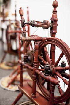 Spinning wheels from Heimilisiðnaðarsafnið – the Icelandic Textile Museum in Blönduós. Image via Brooklyn Tweed.