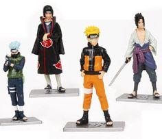 Japanese Anime Naruto Figures Collection Figurines 4pc Set , Kakashi Uzumaki Naruto Sasuke:Amazon:Toys  Games