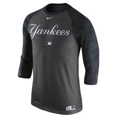 Nike New York Yankees Charcoal Authentic Collection 3/4-Sleeve Raglan Performance T-Shirt #yankees #mlb #nyy