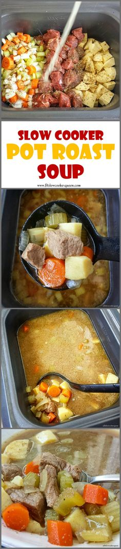 Healthy slow cooker / crockpot recipe -  Pot roast flavors in a bowl! This easy paleo and whole 30 slow cooker recipe turns a family dinner favorite (pot roast) into a comforting soup.