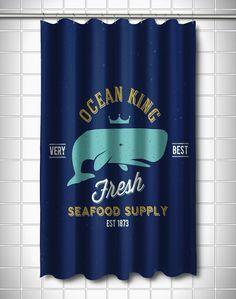 Ocean King Whale Shower Curtain