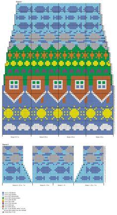 Fair Isle Knitting Patterns, Knitting Charts, Weaving Patterns, Knit Mittens, Knitting Socks, Tiny Cross Stitch, Patterned Socks, Knit Or Crochet, Textiles