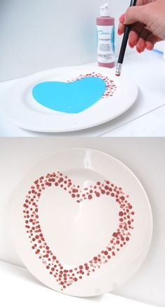 Pencil Dot painting with underglaze and our heart silhouette. #Plate #DIY…