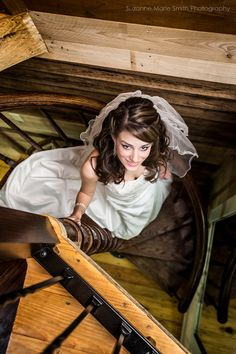 Bride on stairs portrait - Suzanne Marie Smith Photography